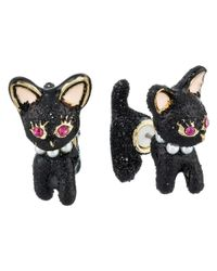 Betsey Johnson - Black Dark Shadows Cat Front Back Earrings - Lyst