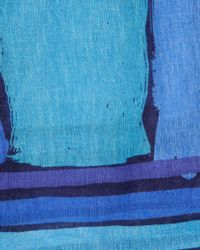 Jaeger - Blue Block Print Scarf - Lyst