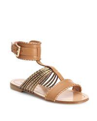Sigerson Morrison - Brown Kacie Leather Anklestrap Sandals - Lyst