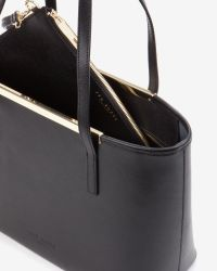 Ted Baker - Black Small Crosshatch Leather Shopper Bag - Lyst