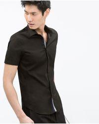 Zara | Black Stretch Shirt for Men | Lyst
