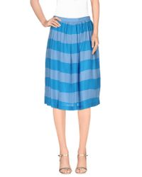 Burberry Brit - Blue Knee Length Skirt - Lyst