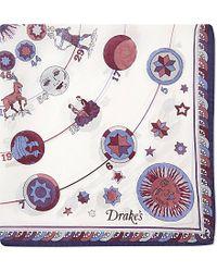 Drake's | White Astrological Silk Pocket Square - For Men for Men | Lyst