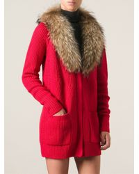 P.A.R.O.S.H. - Red Fur Collar Cardigan - Lyst