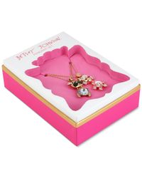 Betsey Johnson | Metallic Gold-tone Crystal And Stone Dog Necklace Set | Lyst
