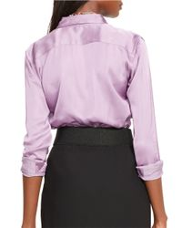 Lauren by Ralph Lauren | Purple Charmeuse Shirt | Lyst
