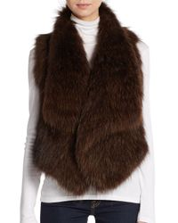 VINCE | Brown Raccoon Fur Vest | Lyst