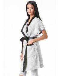 Bebe - Gray Short Sleeve Sweater Coat - Lyst