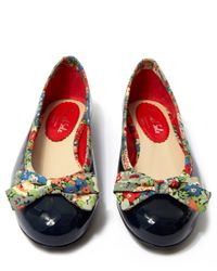French Sole - Blue Navy Patent Leather Henrietta Flats - Lyst