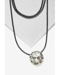 Nasty Gal - Gray Crystal Eyes Collar Necklace - Lyst