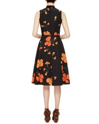 Rodarte - Black Printed Poppy Wool Blend Sleeveless Dress - Lyst