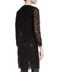 Ralph Lauren Collection - Black Mid-length Open Lace Coat - Lyst