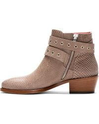 Studio Pollini - Natural Taupe Snakeskin Embossed Ankle Boots - Lyst