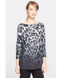 ESCADA - Gray Ombre Leopard Print Jersey Top - Lyst