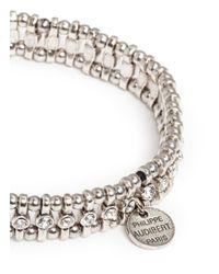 Philippe Audibert | White Amelia Bead And Small Crystal Elasticated Bracelet | Lyst