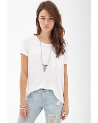 Forever 21 - White Contemporary Woven-paneled Jersey Tee - Lyst