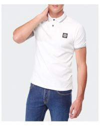 Stone Island - White Slim Fit Polo Shirt for Men - Lyst