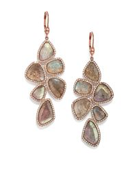Meira T | Metallic Labradorite, Diamond & 14k Rose Gold Drop Earrings | Lyst