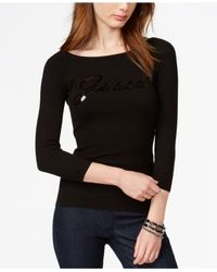 Guess - Black Three-quarter-sleeve Sequin Graphic Top - Lyst
