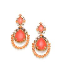 kate spade new york - Pink Mosaic Framed Teardrop Earrings - Lyst