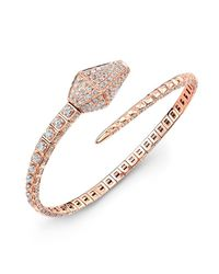 Anne Sisteron - Pink 18kt Rose Gold Diamond Snake Cuff - Lyst