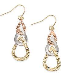Macy's | Metallic Tri-tone Hammered Teardrop Earrings In 10k Gold | Lyst