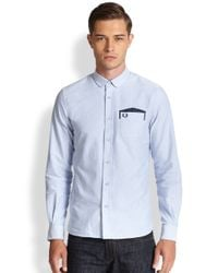 Fred Perry - Blue Polka Dot Patch Pocket Sportshirt for Men - Lyst