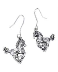 Aeravida | Metallic Gorgeous Elegant Horse .925 Silver Dangle Earrings | Lyst