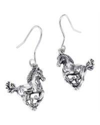 Aeravida - Metallic Gorgeous Elegant Horse .925 Silver Dangle Earrings - Lyst