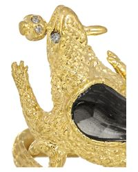 Alexander McQueen - Metallic Gold-Plated Swarovski Crystal Ring - Lyst