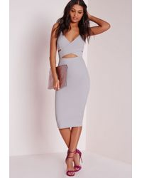Missguided - Gray Scuba Strappy Cut Out Midi Dress Grey - Lyst