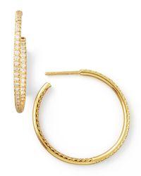 Roberto Coin | Metallic 30mm Yellow Gold Diamond Hoop Earrings | Lyst