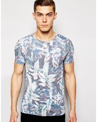 ASOS - Green Muscle T-shirt With All Over Floral Print And Stretch for Men - Lyst