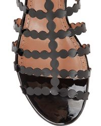Alaïa - Black Laser-Cut Patent-Leather Sandals - Lyst