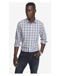 Express | Gray Ombre Plaid Fitted Dress Shirt - Red for Men | Lyst