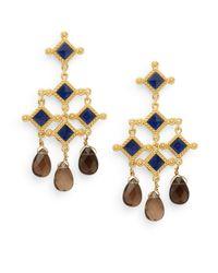 Stephanie Kantis - Metallic London Blue Crystal & Smoky Topaz Briolette Venetian Chandelier Earrings - Lyst