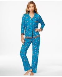 Ellen Tracy | Blue 3/4 Sleeve Top And Pajama Pants Set | Lyst