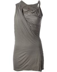 Rick Owens Lilies | Gray Jersey Front Drape Top | Lyst