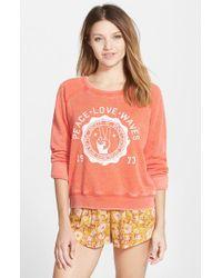 Billabong - Red 'peace Love Waves' Graphic Sweatshirt - Lyst