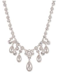 Givenchy - Metallic Rhodium-tone Glass Stone Frontal Drama Necklace - Lyst