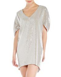 Lafayette 148 New York - Metallic Platinum Sequin Embellished Dress - Lyst