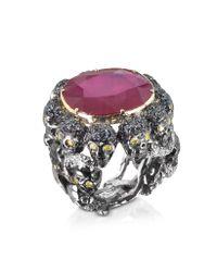 Bernard Delettrez - Purple Skulls and Snakes Black Ring Wglasstreated Ruby - Lyst