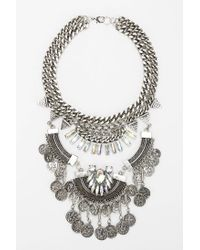 Urban Outfitters | Metallic Lalla Rhinestone Statement Bib Necklace | Lyst