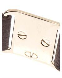 Valentino - Brown Rockstud Leather Bracelet - Lyst