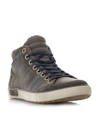 Dune | Gray Temper Leather Trainers for Men | Lyst