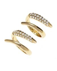 Rachel Zoe | Metallic Gold-Plated Double Rings | Lyst