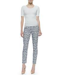 Jen7 - Black Cropped Damask Skinny Jeans - Lyst