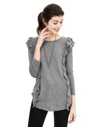 Banana Republic | Gray Ruffle Inset Top | Lyst