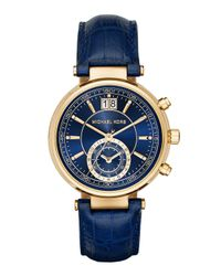 Michael Kors - Blue 39mm Sawyer Leather Strap Watch - Lyst