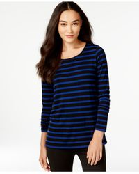 G.H. Bass & Co. | Blue Striped Knit Top | Lyst